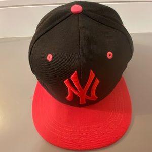 NY adjustable Baseball cap. Pink and black.